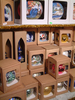 christmas baubles packed in boxes for transporting home